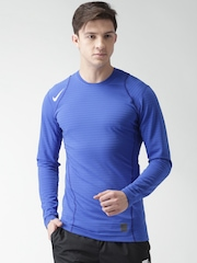 Nike Men Blue Striped AS WARM T-Shirt