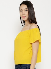 Vero Moda Women Yellow Solid Off-Shoulder Top