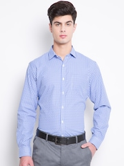 Mark Taylor Men Blue & White Slim Fit Checked Formal Shirt