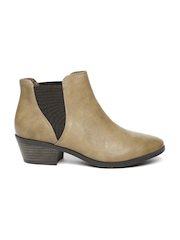 Call It Spring Women Tan Solid High-Top Heeled Boots