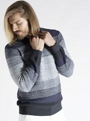s.Oliver Men Navy Striped Sweater