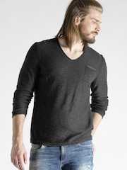 s.Oliver Men Charcoal Grey Solid Sweater