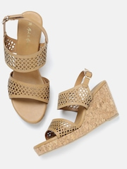 Mast & Harbour Women Beige Wedges with Laser Cuts