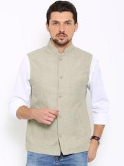 Indian Terrain Beige Linen Sleeveless Nehru Jacket