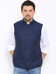 Indian Terrain Navy Linen Sleeveless Nehru Jacket
