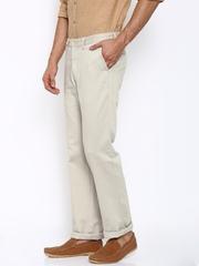 Indian Terrain Men Beige Solid Flat-Front Trousers