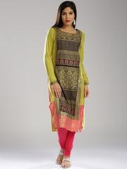 W Women Yellow Printed Straight Kurta
