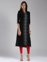 W Women Black Printed Straight Kurta