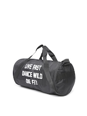 Reebok Women Black Studio Slogan Print Duffel Bag