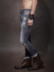 Roadster Men Grey Skinny Fit Mid Rise Slash Knee Jeans