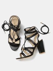 DressBerry Women Black Braided Gladiator Heels