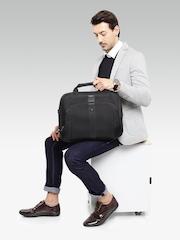 CARLTON Unisex Black Herringbone Pattern Derby Laptop Bag