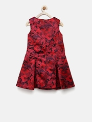 Elle Kids Girls Maroon Printed Fit & Flare Dress