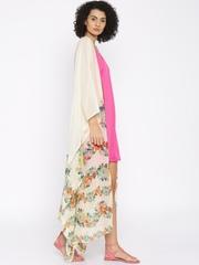 The Kaftan Company Cream-Coloured Printed Sheer Maxi Kaftan Cover-Up Dress RW_FREEMX005