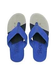 Roadster Men Blue & Grey Striped Flip-Flops