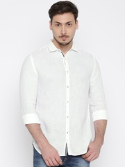 Jack & Jones Men White Slim Fit Solid Linen Casual Shirt