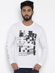 Lee Men White Printed T-shirt