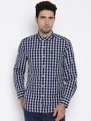 Lee Men Navy Blue Checked Casual Shirt