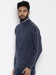 Lee Men Navy Blue Solid Sweater
