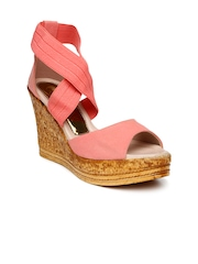 Catwalk Women Pink Solid Peep-Toed Wedges