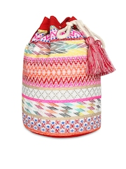Anekaant Women Pink & White Jacquard Backpack with Woven Design