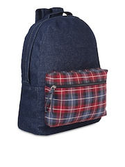 Anekaant Women Blue Denim Checked Backpack