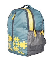 Skybags Unisex Teal Green & Yellow Pixel 03 Printed Backpack