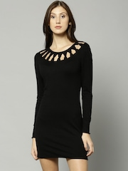 French Connection Women Black Solid Bodycon Dress
