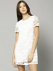 French Connection Women White Lace Shift Dress