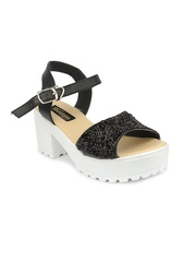 Shoetopia Women Black Solid Sequinned Platforms