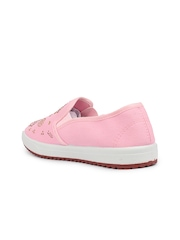Shoetopia Women Pink Slip-On Sneakers