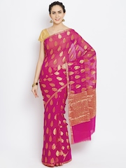 Banarasi Style Magenta Chiffon Patterned Banarasi Saree