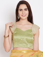 Banarasi Style Green & Golden Cotton Chevron Pattern Blouse