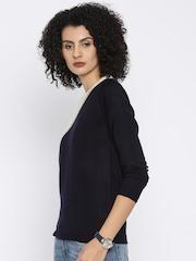 UMM Navy & Cream-Coloured Colourblock Sweater