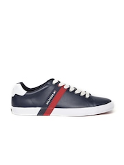 Tommy Hilfiger Men Navy Blue Solid Leather Sneakers