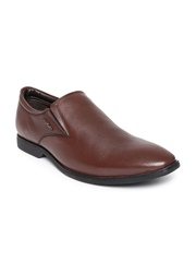 Hush Puppies Men Brown Aaron Pointy-Toed Leather Semiformal Slip-Ons