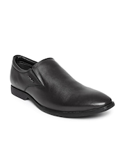 Hush Puppies Men Black Aaron Pointy-Toed Leather Semiformal Slip-Ons