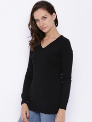 Fame Forever by Lifestyle Women Black Solid Sweater