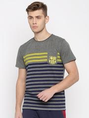 Barcelona Men Grey Melange Striped Round Neck T-Shirt