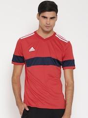 Adidas Men Red KONN16 Striped V-Neck Football Jersey