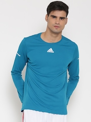 Adidas Men Turquoise Blue LS Solid Round Neck Running T-shirt