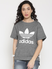 Adidas Originals Women Grey Melange DRAW Printed Boxy Top
