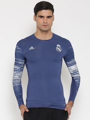Adidas Men Blue TF Real Madrid F.C. Printed Round Neck T-Shirt