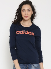 Adidas NEO Women Navy Blue CE LG Printed Round Neck T-Shirt