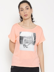 Adidas NEO Women Peach-Coloured Printed Round Neck T-shirt