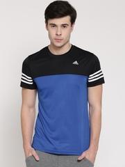 Adidas Men Blue Base Mid DD Colourblocked Round Neck T-shirt