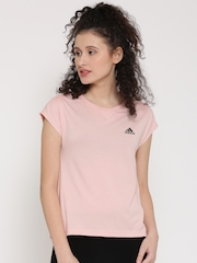 Adidas Women Peach ET Solid Round Neck T-Shirt