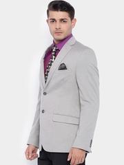 SULTLTD Grey Single-Breasted Slim Fit Formal Blazer