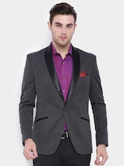 SUITLTD Charcoal Grey Slim Fit Single-Breasted Tuxedo Blazer