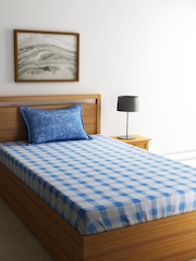 SPACES Blue Cotton 144 TC Single Bedsheet with 1 Pillow Cover